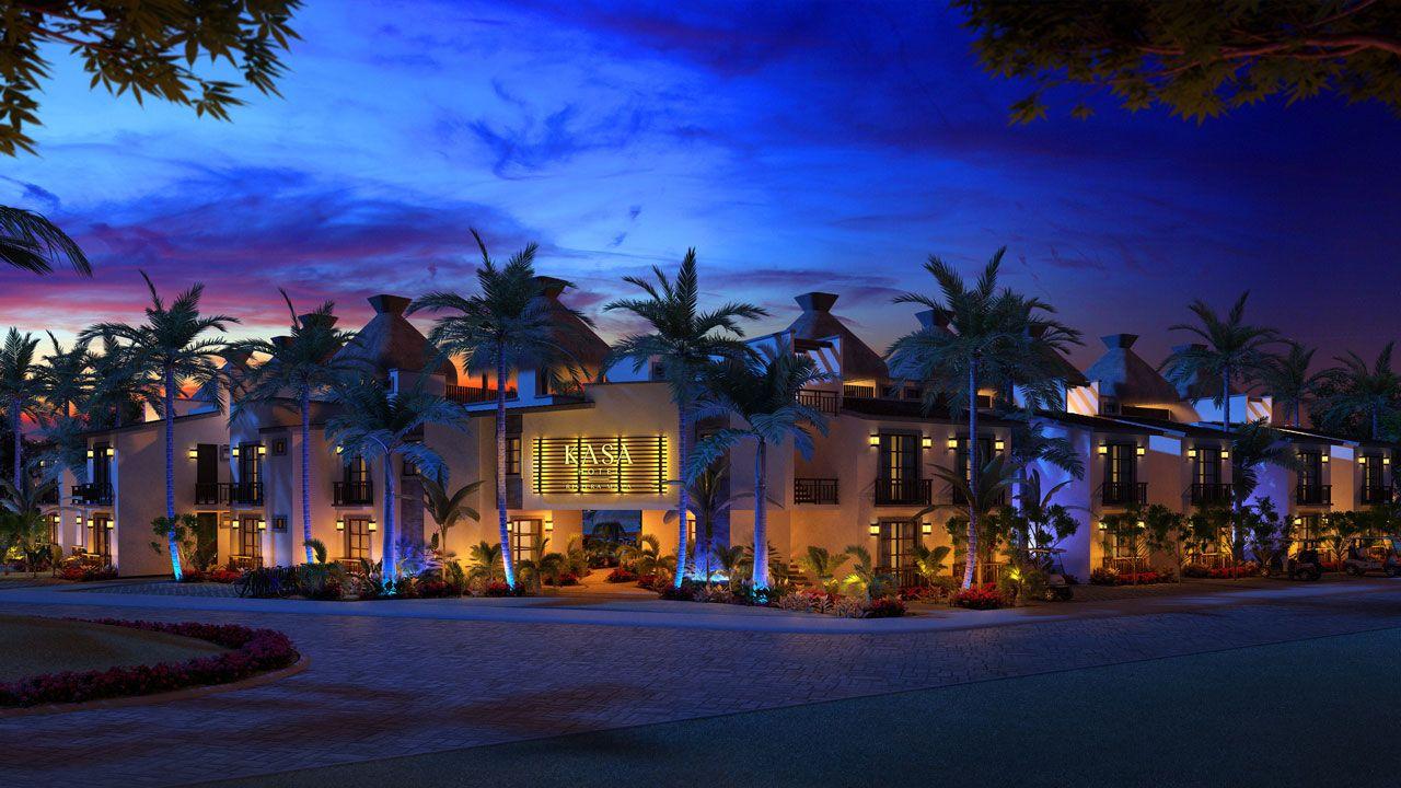 KASA Residences Riviera Maya - Entrada por la Noche
